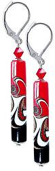 Vášnivé náušnice Red Black s unikátní perlou Lampglas EPR12