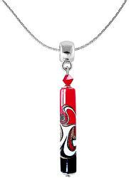 Vášnivý náhrdelník Red Black s unikátní perlou Lampglas NPR12