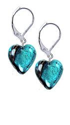 Výjimečné náušnice Turquoise Heart s ryzím stříbrem v perlách Lampglas ELH5
