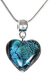 Výjimečný náhrdelník Turquoise Heart s perlou Lampglas s ryzím stříbrem NLH5