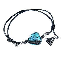 Výjimečný náramek Turquoise Heart s ryzím stříbrem v perle Lampglas BLH5
