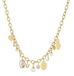 Pozlátený oceľový náhrdelník s príveskami LJ1434