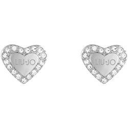 Romantické oceľové náušnice s kryštálmi Srdiečka LJ1553