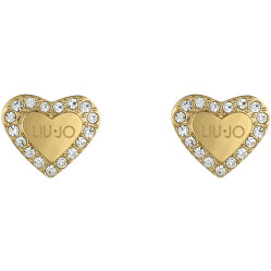 Romantické pozlátené náušnice s kryštálmi Srdiečka LJ1556