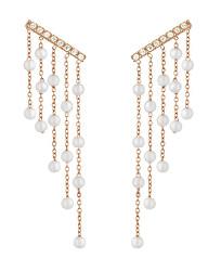 Růžově zlacené ocelové náušnice s perličkami a krystaly LJ1481