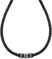 Čierny kožený náhrdelník LS2068-1 / 2