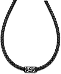 Čierny kožený náhrdelník LS2069-1 / 2