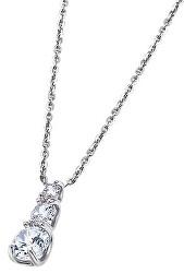 Elegantní stříbrný náhrdelník s čirými zirkony LP1289-1/1