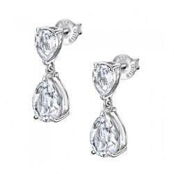 Luxusní stříbrné náušnice s čirými krystaly Swarovski LP2014-4/1