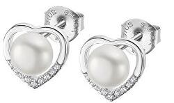 Něžné stříbrné náušnice se zirkony a perlami 2v1 LP3308-4/1