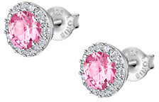 Okouzlující stříbrné náušnice s čirými a růžovými krystaly Swarovski LP2008-4/2