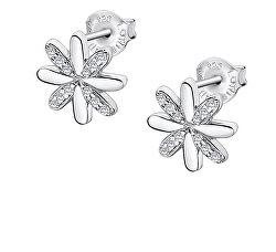 Stříbrné květinové náušnice se zirkony LP3056-4/1