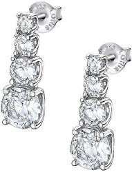 Třpytivé stříbrné náušnice s čirými krystaly Swarovski LP2012-4/1