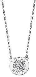 Třpytivý stříbrný náhrdelník s čirými zirkony pro ženy LP1252-1/1