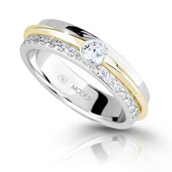 Bicolor stříbrný prsten se zirkony M16023