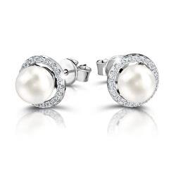 Elegantní stříbrné náušnice se syntetickými perlami M23072