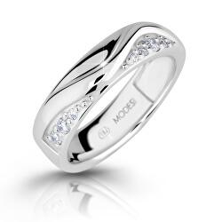 Módní stříbrný prsten se zirkony M16026