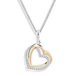 Srdíčkový tricolor náhrdelník se zirkony M43060 (řetízek, přívěsek)