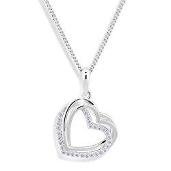 Srdiečkový náhrdelník so zirkónmi M43059 (retiazka, prívesok)