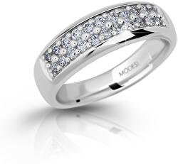 Třpytivý stříbrný prsten se zirkony M11083