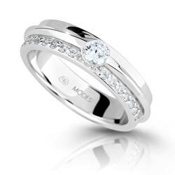 Třpytivý stříbrný prsten se zirkony M16020