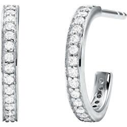 Kruhové stříbrné náušnice s krystaly MKC1177AN040
