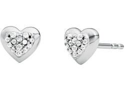 Ezüst szív alakú fülbevaló cirkónium kövekkel MKC1457AN040