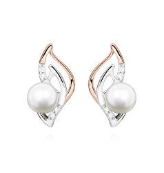 Elegantné strieborné bicolor náušnice s pravými riečnymi perlami EP000162