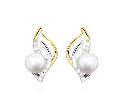 Elegantní stříbrné bicolor náušnice s pravými říčními perlami EP000163