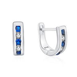 Elegantné strieborné náušnice s čírymi a modrými zirkónmi E0000207