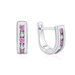 Elegantné strieborné náušnice s čírymi a ružovými zirkónmi E0000176