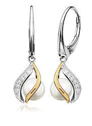 Elegantné strieborné náušnice s pravými perlami EP000146