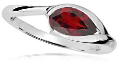 Elegantní stříbrný prsten s červeným granátem RG000