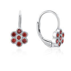 Hravé strieborné náušnice s červenými zirkónmi Kytičky E0002229