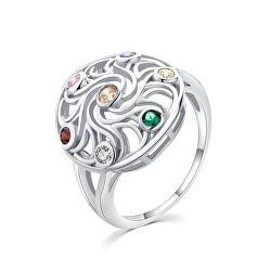 Hravý strieborný prsteň s farebnými zirkónmi R00021