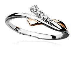Krásný stříbrný prsten se zirkony R000093