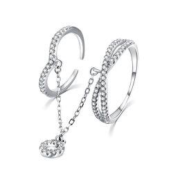 Luxus dupla ezüst gyűrű cirkónium kövekkel R00022