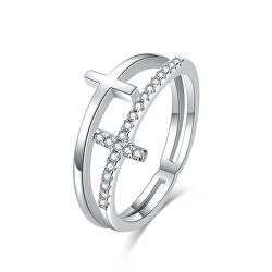 Luxus dupla ezüst gyűrű keresztekkel R00020