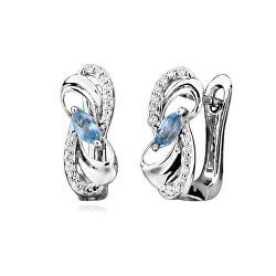Luxusní stříbrné náušnice s modrými topazy EG000084