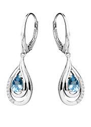 Luxusní stříbrné náušnice s topazy a zirkony EG000005