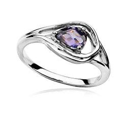 Luxusný strieborný prsteň s ametystom a zirkónmi RG0000