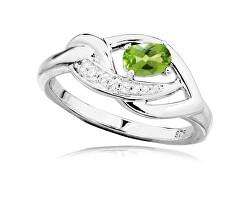 Luxusní stříbrný prsten s olivínem a zirkony RG0000