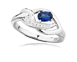 Luxusní stříbrný prsten s tanzanitem a zirkony RG0000
