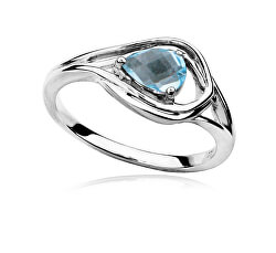 Luxusní stříbrný prsten s topazem a zirkony RG0000