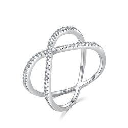 Minimalista dupla ezüst gyűrű cirkónium kövekkel R00021