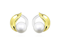 Nadčasové bicolor náušnice pecky s pravými perlami EP000157