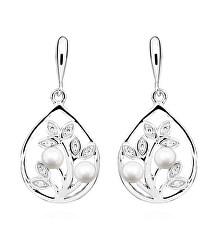 Nadčasové strieborné náušnice s pravými perlami a zirkónmi EP000167