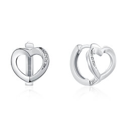 Cercei delicați din argint cu inimi E0000166