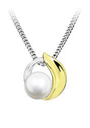 Nežný bicolor prívesok s perlou PP000110