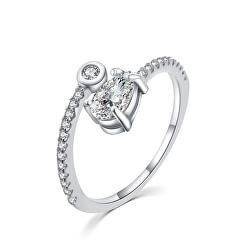 Gyengéd ezüst gyűrű cirkónium kövekkel R000188